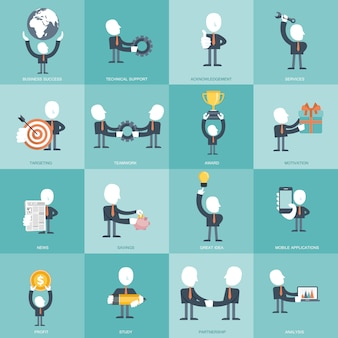 Set of flat icons for business and management