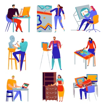 Set of flat icons creative professions graphic designer painter master of sculpture restorer isolated