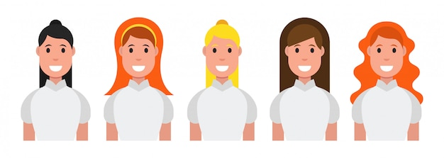 Set of flat icons with women