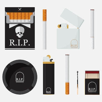 Set of flat icons for world no tobacco day