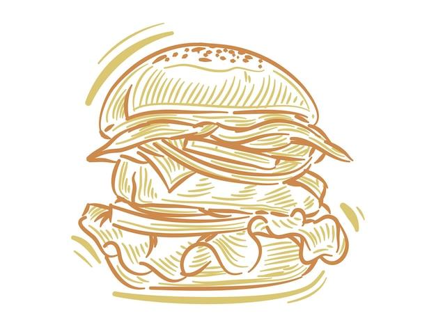 Установите плоскую иллюстрацию говяжьего бургера для брендинга и элемента логотипа