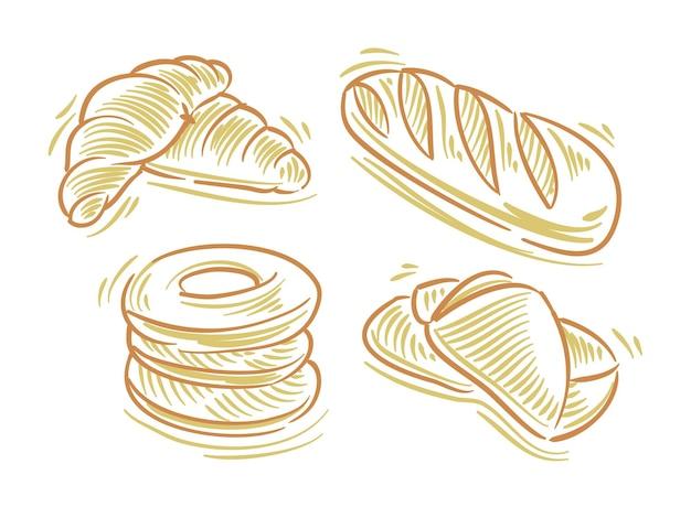 Установите плоскую иллюстрацию хлеба для брендинга и элемента логотипа