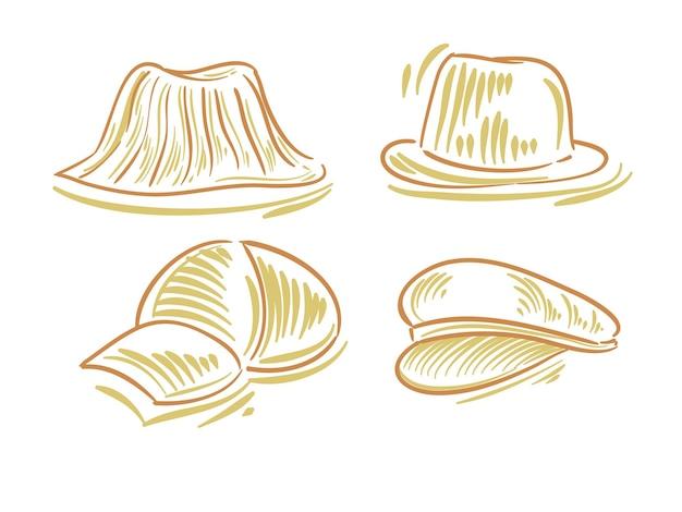 ブランディングとロゴ要素の帽子のフラットイラストを設定します