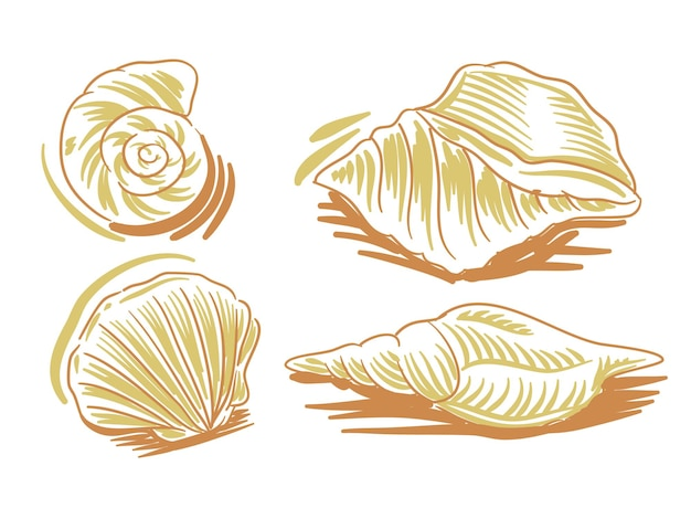 Установите плоскую иллюстрацию морепродуктов для брендинга и элемента логотипа