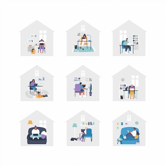 Set of flat  illustrations - people are working from home with laptops, pc at table, at sofa. home office concept - people are working from home. remote job during isolation.
