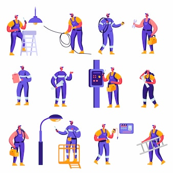 Set of flat industry and smart home maintenance service workers characters