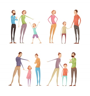 Set of flat isolated doodle adult and kids characters