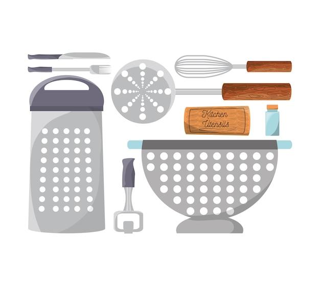Установите плоскую кухонную утварь и значок инструмента