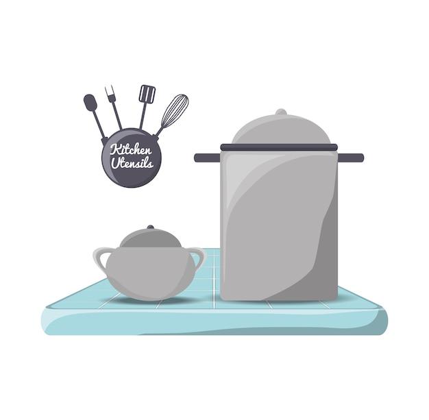 Установить плоскую кухонную утварь и значок инструмента