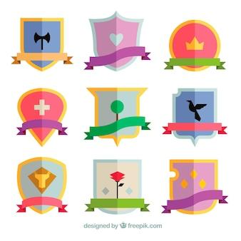 Set di emblemi cavalieri piatti