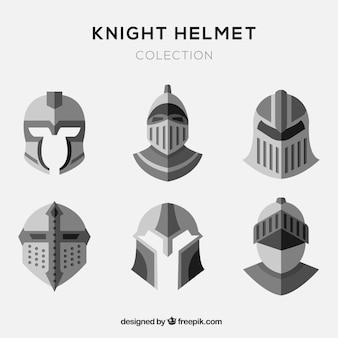 Set of flat knight helmets
