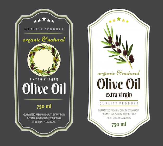 Set of flat labels and badges of olive oil.  hand drawn templates for olive oil packaging