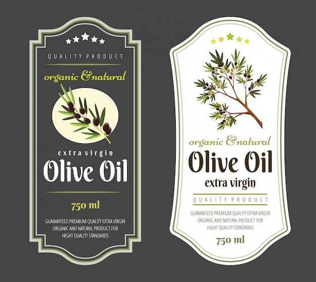 Set of flat labels and badges of olive oil.