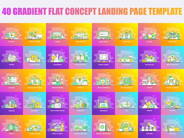 Set of flat line design concept landing page template