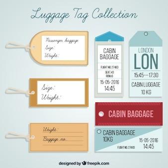 Set of flat luggage tags