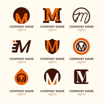 Set of flat m logo templates