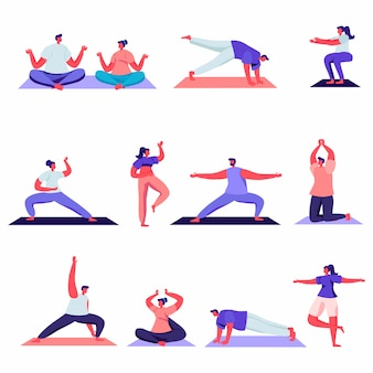 Set of flat male and female sport activities characters