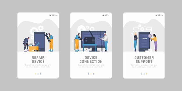 Set of flat mobile slider templates for device service business- device maintenance, handling, device repair, connection issues, bad signal, smartphone errors.