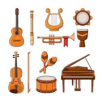 Set of flat musical instrument icons and elements