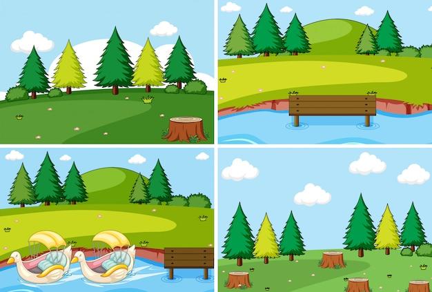 Set of flat nature landscape