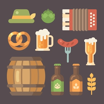 Set of flat oktoberfest icons