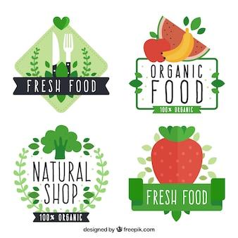 Set di etichette alimentari piatte