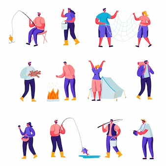 Set of flat outdoor activities characters