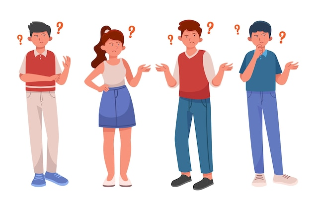 Set of flat people asking questions