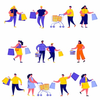 Set of flat people carrying shopping bags with purchases characters