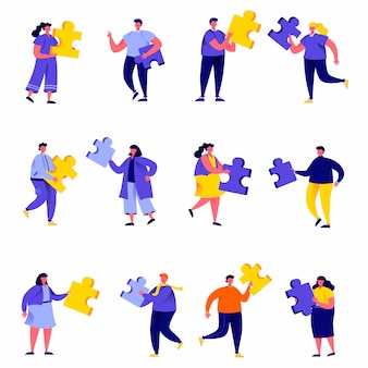 Set of flat people connecting puzzle elements characters