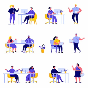 Set of flat people coworking space with creative characters
