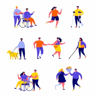 Set of flat people disabled with their romantic partners and friends characters