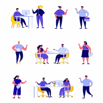 Set of flat people office workers or business meeting or brainstorming characters