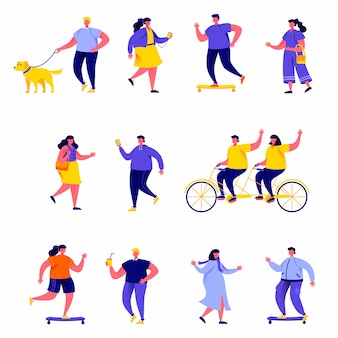 Set of flat people performing summer outdoor activities characters