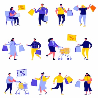 Set of flat people shopping bags and carts characters