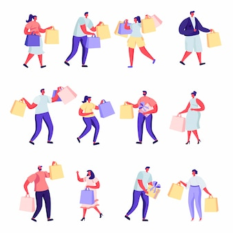 Set of flat people shopping at mall or supermarket characters.