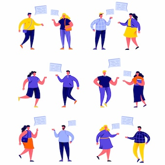 Set of flat people talking to each other with speech balloons characters
