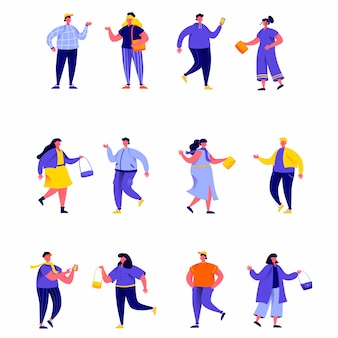 Set of flat people wearing stylish clothes at fashion week characters