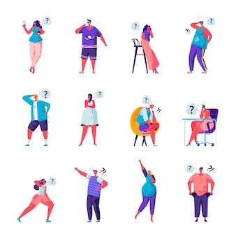 Set of flat people who are looking for something characters