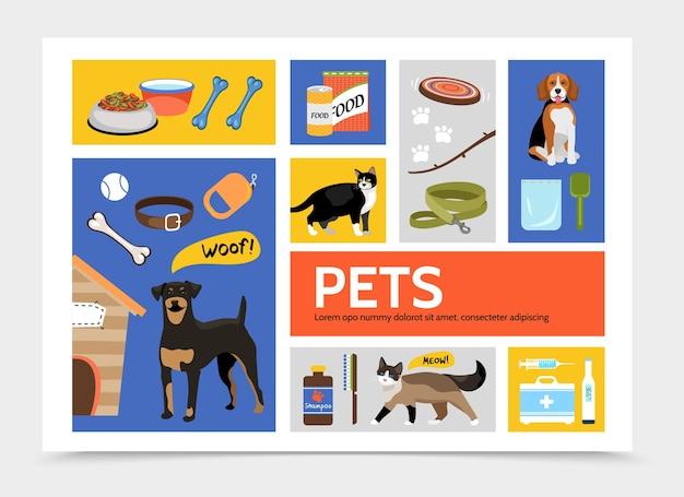 Set of flat pet supplies and animal background template