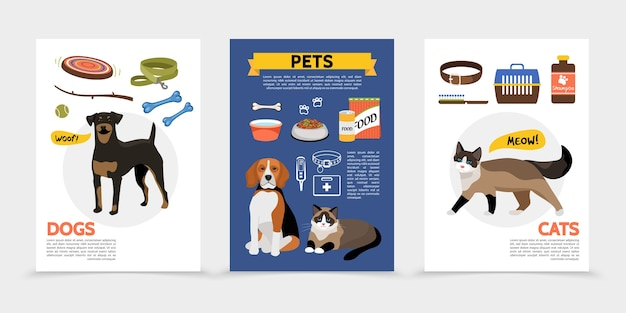 Set of flat pet supplies and animals card templates
