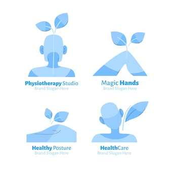 Set of flat physiotherapy logo templates