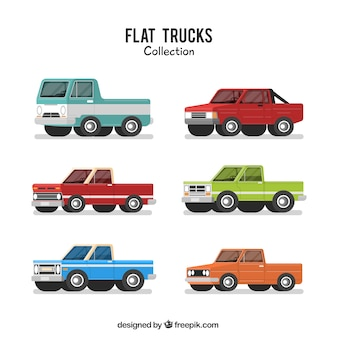 Set of flat pickup trucks