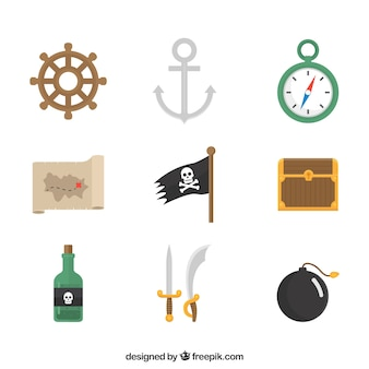 Set of flat pirate elements