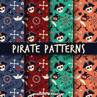 Set of flat pirate patterns with skulls