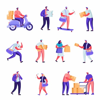 Set of flat postal delivery service characters