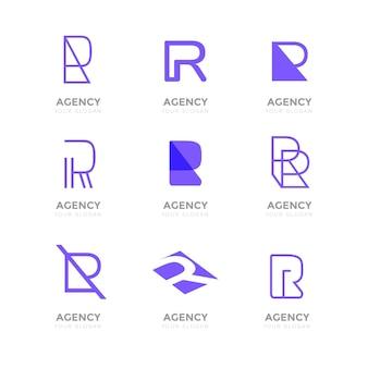 Set of flat r logo templates Premium Vector