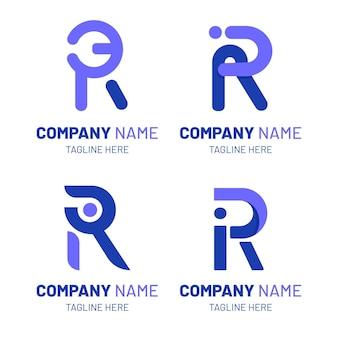 Set di modelli di logo r piatto