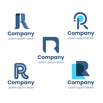 Set of flat r logo templates