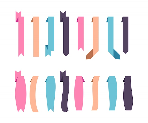 Set of flat ribbons of different shapes, isolated